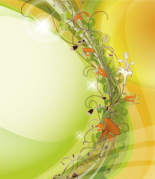 abstract background with flowers elements vector