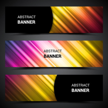 abstract banner sets on colorful bright light background