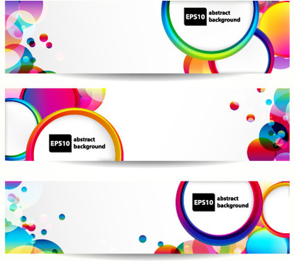 abstract banner with colored circular design vector