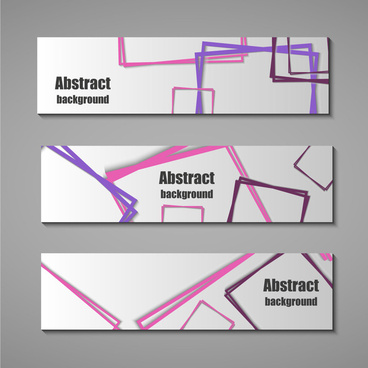 abstract banners design sets with squares arrangment background