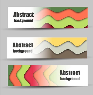 abstract banners design with colorful curves steps background