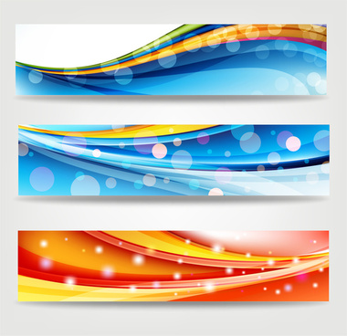 abstract banners with colorful bokeh background
