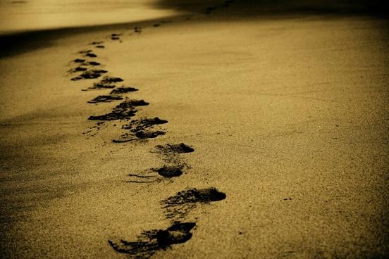 abstract beach coast foot footprint golden island