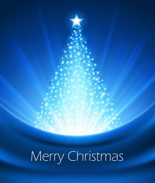abstract blue christmas tree vector graphic