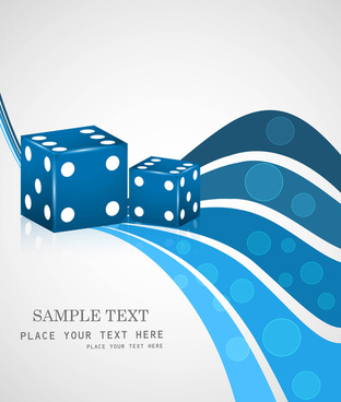 abstract blue color dices reflection wave vector design