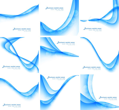abstract blue colorful business wave vector set