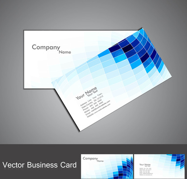 abstract blue colorful fantastic mosaic business card set vector