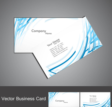 abstract blue colorful line wave business card set vector