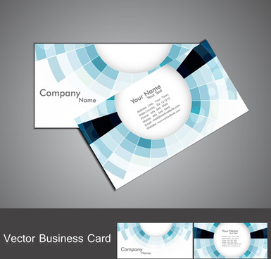 abstract blue colorful mosaic circle business card set vector