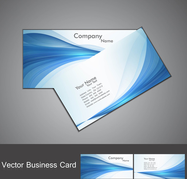 abstract blue colorful stylish wave business card set