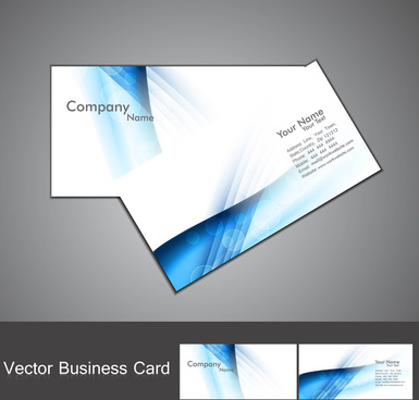 abstract blue colorful stylish wave business card set background