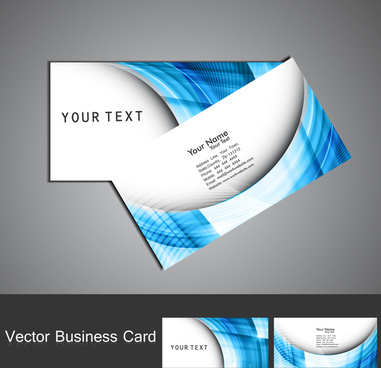 abstract blue colorful wave business card set