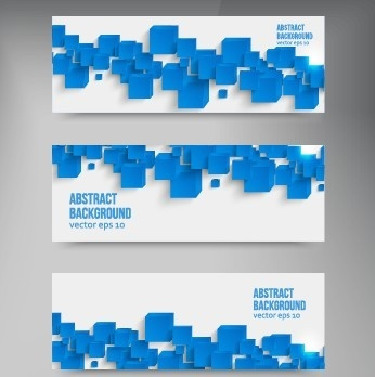 abstract blue square banner vector