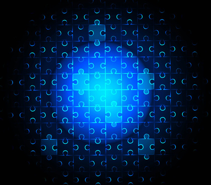 abstract bright blue colorful puzzle style vector background