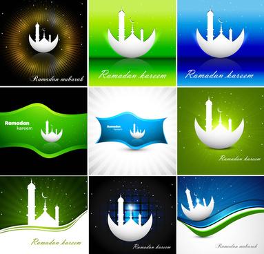 abstract bright colorful green ramadan kareem collection vector design