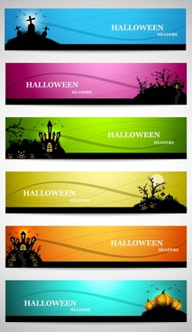abstract bright colorful headers set of four halloween design vector