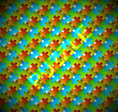 abstract bright colorful shiny puzzle vector