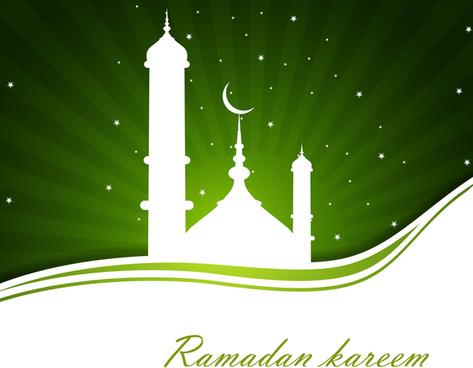 abstract bright green colorful ramadan kareem wave vector