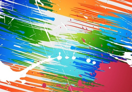 Abstract Brush Paint Splashes Vector Background