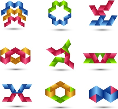 abstract business colorful shiny set vector icons