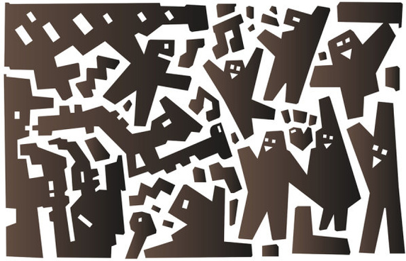abstract cartoon characters vector