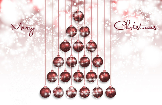 abstract christmas fir with balls on blurred background