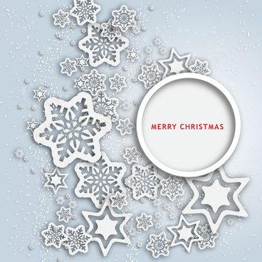 abstract christmas flakes and stars icons decoration