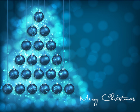 abstract christmas tree with balls on blurred background