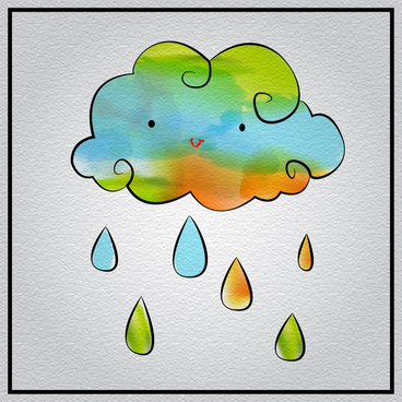 abstract cloud and rain watercolored painting