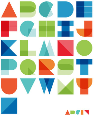 abstract colored alphabet vector