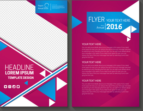 abstract colored background annual report flyer template