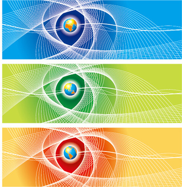 abstract colored banner with earth vector