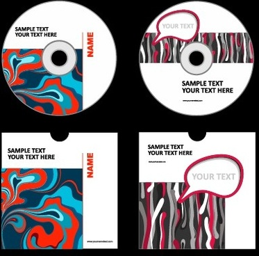 abstract colored dvd and cd disk packing cover vector