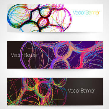 abstract colored lines banner vector