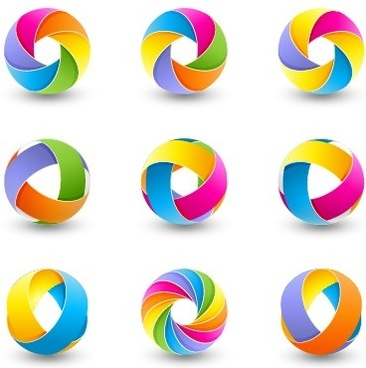 abstract colored spherical logos design vector