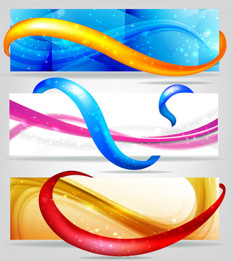 abstract colorful banners with curved lines design
