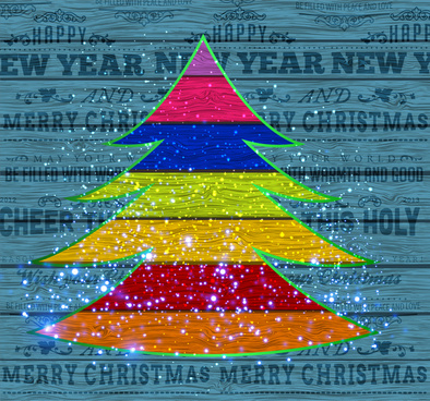 abstract colorful christmas tree on wooden plank background
