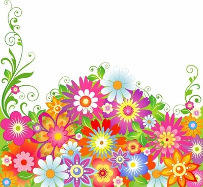 abstract colorful flowers vector illustration