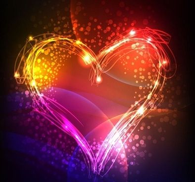 abstract colorful heart valentine background