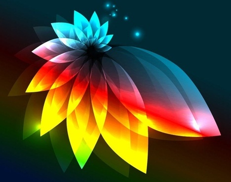 abstract colorful light flower vector graphic