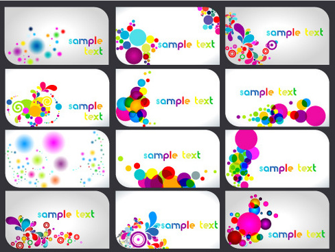 abstract colorful set of business cards elements vector