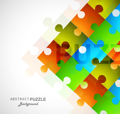 abstract colorful shiny puzzle square vector