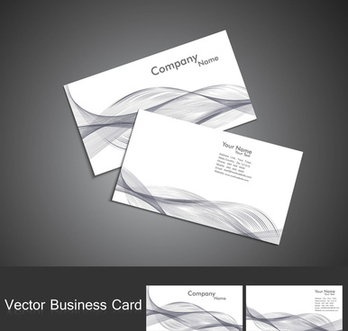abstract colorful wire wave business card set vector