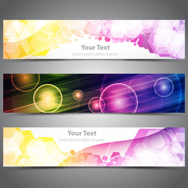 abstract dazzling banner design sets with light effect