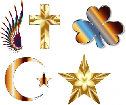 abstract decorative icons illustration with shiny metal style