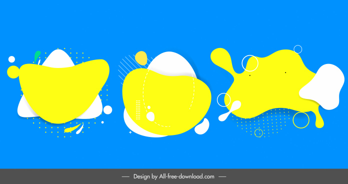 abstract decorative templates bright flat plain deformed shapes