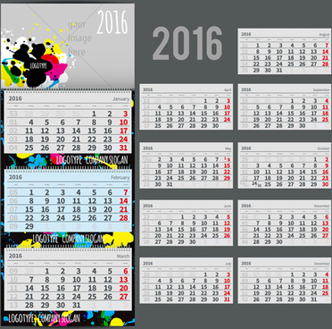 abstract desk calendar16 vectors