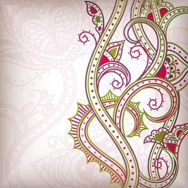 traditional flora pattern colorful flat curves sketch