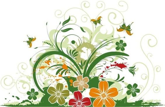 Abstract Floral with Butterfly Background Vector Illustration