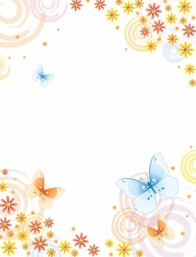 Abstract Flower with Butterfly Vector Background